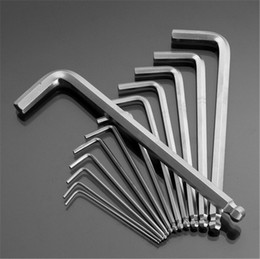 Wholesale Hex Wrench Spanner - 13pcs set High Toughness Matte Chrome Ball End Hex Allen Key Wrench Spanner Set 0.05 Inch to 3 8 Inch Hand Tools