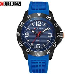 Wholesale Watches For Big Wrists - Top brand curren silicone watchband waterproof sport luxury watches for men casual fashion dress big dial quartz wrist watches Wholesale