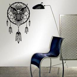 Wholesale Owl Totem - Indian fishing dream totem religion owl feathers removable wall stickers mural new 2016 European and American fashion