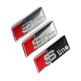 Wholesale Audi A6 S Line - Sline S line Steering Wheel Sticker 3D Aluminium Alloy Emblem 3D Car Stickers Car Styling For Audi A1 A3 A4 A5 A6