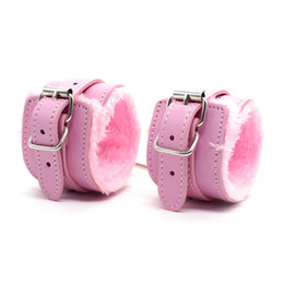 Wholesale Locking Sex Handcuffs - Locking Restraint PU Leather Premium Fur Lined Handcuffs Slave Roleplay bondage Flirting Adult Sex Games