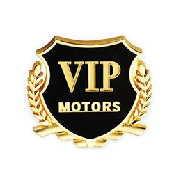 Wholesale Metal Decor Autos - Wholesale 2pcs set Cool Car VIP Chrome Metal Emblems Badge Car Sticker Decal Door Window Body Auto Decor DIY Metal Sticker Car Decoration