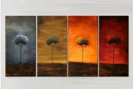Wholesale Tree Artist Oil Paintings - High Skills Artist Hand-painted High Quality Modern Abstract Landscape Oil Painting On Canvas Four Season Trees Oil Painting