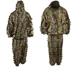 Wholesale Ghillie Suit Camo - Polyester Durable Outdoor Woodland Sniper Ghillie Suit Kit Cloak Military 3D Leaf Camouflage Camo Jungle Hunting Birding