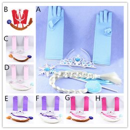 Wholesale Masquerade Party Props - Kids Girls Frozen Cosplay 4pc sets Elsa Anna Tiara Gloves Magic Wands Wigs Cartoon Princess Costume Props for Girls Xmas Masquerade Party