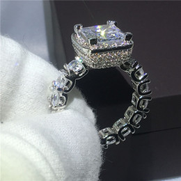 Wholesale Cz Bridal - Majestic Sensation Court style 925 Sterling silver Bridal rings 2ct Diamonique Cz Engagement wedding band ring for women Gift