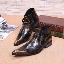 Wholesale Boot Shoe Brush - Personalized Fashion Men High Top Brush Color Leather Shoes Trend Of Short Buckle Ankle Boot For Men Party Motorcycle Shoes