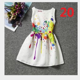 Wholesale Chiffon Multi Way Dress - 2016 the European and American children's clothes new spring and summer Girls dress Sleeveless printed restoring ancient ways Flower