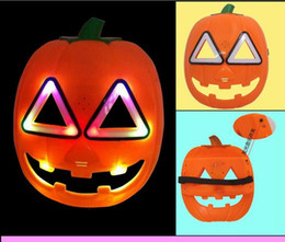 Wholesale Resins Pumpkins - Halloween mask Pumpkin flash acoustic band mask Christmas costume party props Acousto-optic pumpkin mask Christmas gifts DHL FREE
