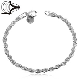 Wholesale Twisted Rope Chain Link - Free Shipping Wholesale Silver Plated Bracelet,Wedding Jewelry Accessories,Fashion Silver Flash Twisted Rope Female Bracelets Bangle