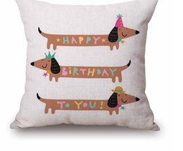 Wholesale Dachshund Pillow - Christmas Festival Dachshund Cushion Cover 45X45cm Happy Birthday Sausage dog Pillow Cases Kids Gift Bedroom Sofa Decoration