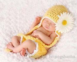 Wholesale Toddler Girl Crochet Hat Sets - yellow Flower human handmade hats+shorts sets newborn Toddler Baby kids Girl boy Costume Beanie photography Taking photo Props Crochet knitt