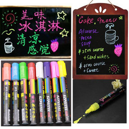 Wholesale Fluorescent Markers - Wholesale- 8pcs Luminous Color Highlighter Fluorescent Liquid Chalk Marker Neon Pen Led Wordpad 6mm