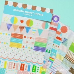 Wholesale Square Epoxy Stickers - 6sheets set welcome Korea design round and square shape PVC material simple life calendar epoxy diary planner sticker for scrapbooking decor