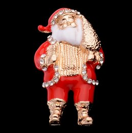 Wholesale Kids Hats China - Christmas Santa Brooches For Women Kid Cute Enamel Broche Badge Dress Pendant Accessories Female Sweater Hat Pin Present