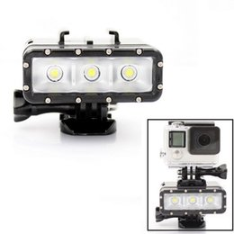 Wholesale led underwater lights battery - Sports Action Camera Underwater Light Diving waterproof LED video light+Battery& mount For Xiaomi Yi SJ4000 Sports Action Camera