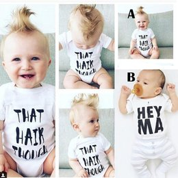 Wholesale White Romper For Boys - 2016 Baby Boys Girls Cotton Onesies Kids T-Shirt Letter Printed Jumpsuits Summer Triangle Romper For Children White Climb Outifits