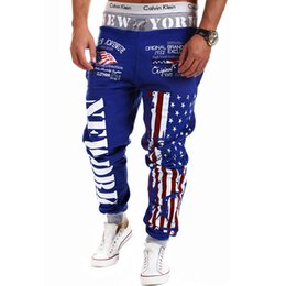 Wholesale Smile Trousers - Wholesale-[smiling]2016 New Men'S Brand Casual Letters National Flag Printed Lace Trousers Joggers Men'S Outdoor Sports Sweatpants