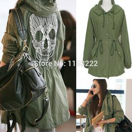 Cráneo chaqueta verde online-Al por mayor-Mujeres Moda Punk Gothic Army Hoodie verde con capucha Drawstring abrigos Skull Embroidery Lace Mesh Chaquetas prendas de vestir exteriores