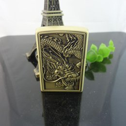 Wholesale China Cigarettes Lighters - Original China dragon Flint Lighter Classic Copper Oil Lighters Petrol Lighter