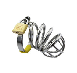 Wholesale Chastity Art Cages - 2016 Latest Medium Size Male Stainless Steel Cock Penis Cage Ring Chastity Belt Art Device BDSM Sex toys A014