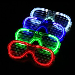 Wholesale Christmas Sunglasses Lights - 100pcs LED Light Glasses Flashing Shutters Shape Glasses LED Flash Glasses Sunglasses Dances Party Supplies Festival Decoration