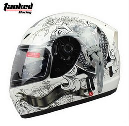 Wholesale Motorbike Full Face Helmets - Fashion Tanked Racing Full Face Motorcycle helmet with bib electric bicycle motorbike helmets made of ABS Size M L XL XXL