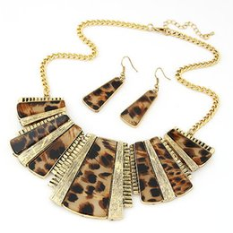 Wholesale Gold Leopard Pendant - 2016 Vintage Square Stone Leopard Alloy Pendant Necklace Earring Set Gold Necklace Earrings Jewelry Set For Women Accessories