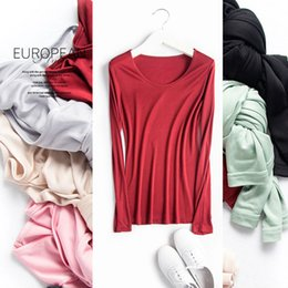 Wholesale Real Silk Shirts - Wholesale- Women Basic shirt 100%REAL SILK T shirts Solid long sleeved O neck shirt Healthy natural fabric TOP 2017 Spring New
