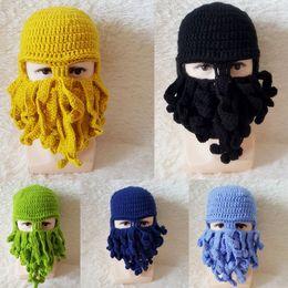 Cabeça de polvo on-line-New Gorros Outono e inverno a Europa e os Estados Unidos Halloween Polvo chapéu chapéu engraçado polvo head cap gorro de lã artesanal