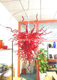 2020 lampara de murano rojo C42-Modern Designer - Lámpara de vidrio soplado a mano Hotel Lobby Crystal Chandelier Red Murano Glass Chandeliers Lámpara de techo lampara de murano rojo baratos