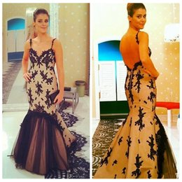 Wholesale Sexy Ladies Stripping - 2017 Sexy Spaghetti Strips Mermaid Evening Dresses Backless Black Lace Appliques Women Formal Prom Party Gowns Special Occasion Dress Ladies