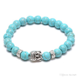 Wholesale Turquoise Bead Buddha Bracelet - Natural Lava Stone Turquoise Prayer Beads Charms Bracelets Anti-fatigue Silver Buddha Volcanic Rock Men's Women's Diffuser Jewelry