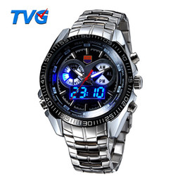 Wholesale Tvg Wristwatches - TVG Luxury Men's Sports Watches Fashion Clock Stainless Steel Watch LED Digtal Watches Men 30AM Waterproof Wristwatch Relogio Masculino
