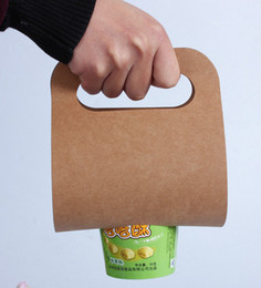 Wholesale Mug Packaging - Can be printed logo Milk tea Coffee mugs Beverage cup brown paper bag Juice cup Packaging Portable paper bag Single Cup