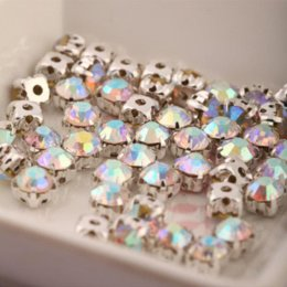Wholesale Crystal Chatons Wholesale - 720pcs SS25 Pointback Rhinestones Chatons Crystal Glass Stones Sew on Rhinestone Claw Silver Plated Setting Crystal Clear Color M64518