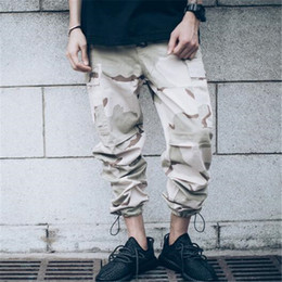 Wholesale hip hop camo clothing - hip hop clothing overalls kanye west fashion joggers mens baggy tactical camo cargo pants Full Length Desert camouflage