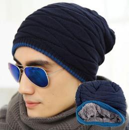 Wholesale Active Building - 2017 New Simple Black Grey Men Women Winter Warm Elasticity Knit Stripe Hat Built-in Plush Wool Hat Ski Hat Baggy Cap cc786