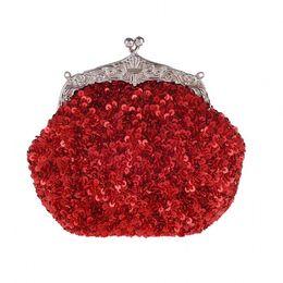 Wholesale beaded evening purse gold - New Women's Hand-beaded Handbags Retro Sequins Beads Evening Bag Wedding Party Bridal Clutch Purse Ladies Chain Shoulder Bag