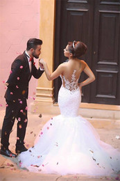 Wholesale Order Backless Dress - 2016-2017 Saudi Arabia Style Dubai Wedding Dresses Mermaid Spaghetti Straps Formal Wedding Gowns Applique DHgate VIP Order Wedding Dress