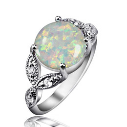 Wholesale Sterling Silver Gem Jewelry - Classic Design Fire Opal Gem Rings 925 Sterling Silver Mid-finger Rings For Women Best Anniversary Gift Wedding Jewelry