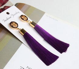 Wholesale Bohemian Studs - 2018 National Wind Stud Earrings Bohemian Long Model Tassels High Grade Earring Dainty Solid Color Jewelry For Girls Women Cross Earrings