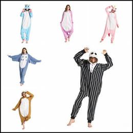 Wholesale Flannel Pajamas Xl - 37 Styles Cartoon Flannel Unicorn Warm Pajamas Kids Skeleton Unicorn One-piece Home Cosplay Nightwear Sloth Pajamas CCA8297 100pcs