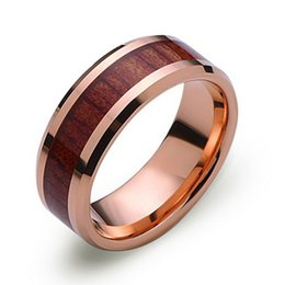 Wholesale Tungsten Wood Inlay Wedding Band - New Arrial Supernova Hot Sales 8MM Rose Gold Plated Beveled Wood Inlay Men's Tungsten Ring Wedding Band Alliance
