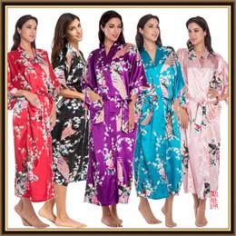 Wholesale Sexy Silk Robe Long Purple - Luxurious Women's Japanese plus size Silk Kimono lingerie sexy Robe calico Flower Nightdress Sleepwear Kimono Underwear long Robes CL-WQ09