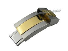 Fibbia da 16 mm online-Fibbia per cinturino 16 mm x 9 mm Fibbia deployante medio oro + argento bicolore Acciaio inossidabile di alta qualità