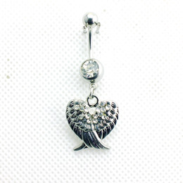 Wholesale Stainless Steel Winged Ring - Piercing Jewelry Fashion Navel Rings Stainless Steel Barbell Dangle Double Rhinestone Wings Belly Button Rings Body Jewelry