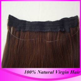 Wholesale Halo Cheap - 2016 Hot Sale Cheap Grade 6A Human Remy Flip in Halo Hair Extensions, 100% Natural Straight Brazilian Real Hair Fish Line Hair Extension