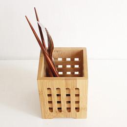 Wholesale chopstick container - Bamboo Tableware Holder Box Spoon Chopsticks Storage Holder Storage Racks Container Tableware Storage Holders Racks Kitchen Tool order<$18no