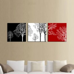 Wholesale square digital photo frame - Colorful Tree Modern 3 Panels Giclee Canvas Artwork Flowe Pictures Photo Painting on Canvas Wall Art for Home Office Decor Wooden Framed